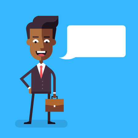 businessmen: Handsome african american businessman in formal suit with a briefcase. Cartoon character - successful happy manager. Vector stock illustration in flat design. Illustration