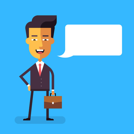 asian manager: Handsome asian businessman in formal suit with a briefcase. Cartoon character -successful happy manager. Vector stock illustration in flat design. Illustration