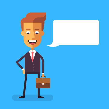 Handsome businessman in formal suit with a briefcase. Cartoon character - successful happy manager.  Vector stock illustration in flat design. 矢量图像