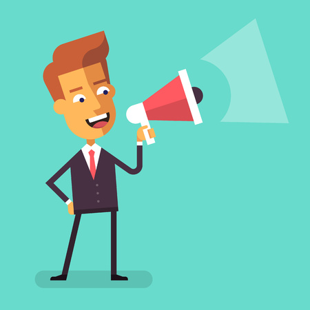 businessman talking: Handsome businessman in formal suit holding megaphone and shouting in it. Cartoon character - manager with bullhorn. Business concept. Vector flat design illustration.