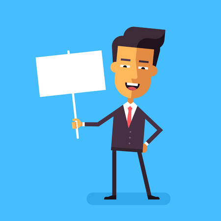 asian manager: Handsome asian businessman holding a poster. Cartoon character - cute manager with banner. Template for your text. Stock vector illustration style flat