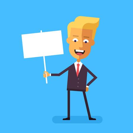 businessman suit: Handsome blond businessman in formal suit holding a poster. Cartoon character - cute scandinavian businessman. Stock vector illustration in flat design.