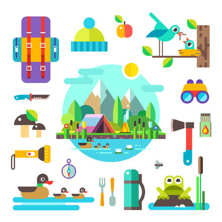Set of hike elements and icons: backpack, binoculars, knife, compass, axe, torch, tent. Camping objects. Birds, ducks, frog, mushrooms, nest. Landscape: forest, lake, swamp and mountains. Style flat. Illustration