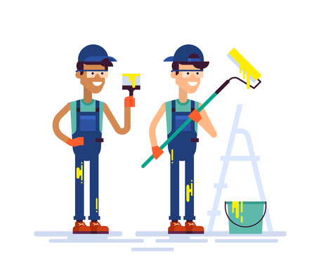 Two young handsome house painters in workwear holding brush and roller. Equipment and tools for painting, stepladder. Modern colorful vector characters guys workers friendly smiling in flat design.
