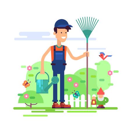 jardinero: El jardinero del hombre atractivo que se coloca en el jardín en bata con rastrillo y regadera. Personaje masculino moderno - agricultor joven sonriendo amigable. Ilustración vectorial de un diseño plano.