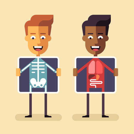 skeleton cartoon: African american and white men with x-ray screen showing their internal organs and skeleton. Mobile health, diagnosis and monitoring using mobile digital devices. MHealth vector flat illustration. Illustration