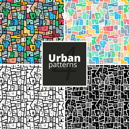Set of urban patterns. Collection of vector modern geometric texture for web or print.