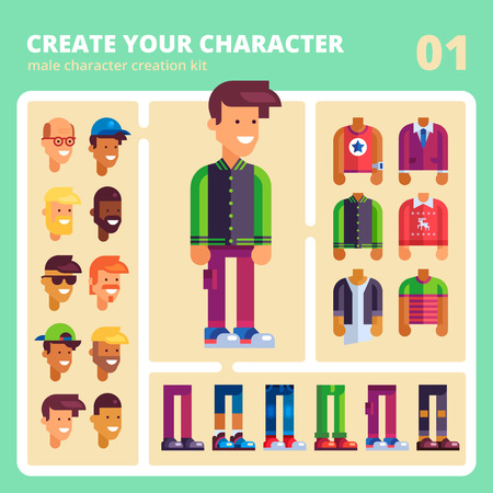male: This kit will help you to make your own unique male vector character in flat design. Youll have many possibilities to customize appearance from faces to apparel. Bonus: a set of ready characters.