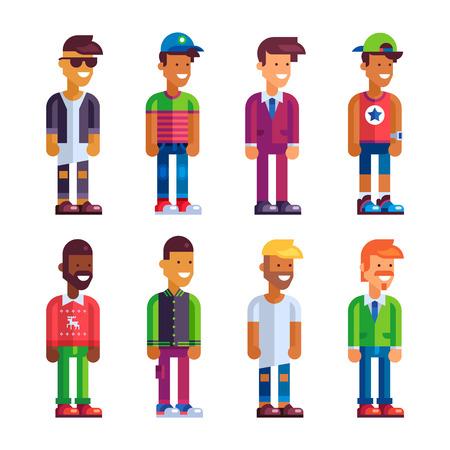 geek: S�per conjunto de personajes masculinos en el dise�o plano. Ilustraci�n Foto de vectores.