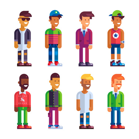 Super set of male characters in flat design. Stock vector illustration. Illustration