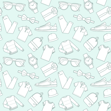 t background: Seamless patterns of male clothes, shoes and accessories for online store in hipster style. Mens wear backgrounds for shops. Thin lines.  Vector stock clipart.