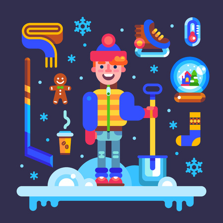 glass thermometer: Set of winter attributes for fun and holidays: guy character with shovel, hockey skates and stick, scarf, xmas glass ball, gingerbread man, thermometer, snowflakes. Vector flat illustration an icons.