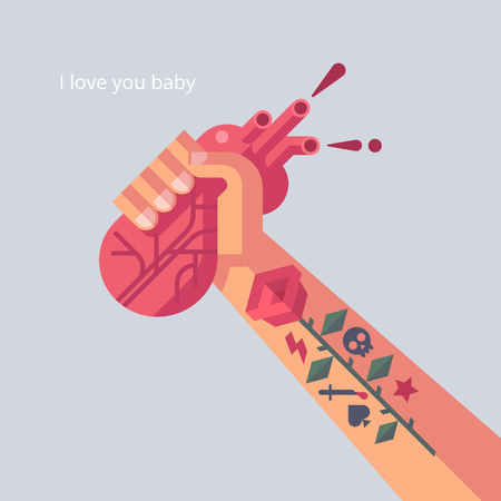 human arm: Man with tattoo is holding a his heart in hand. Unusual creative valentine card. Vector illustration in flat design.