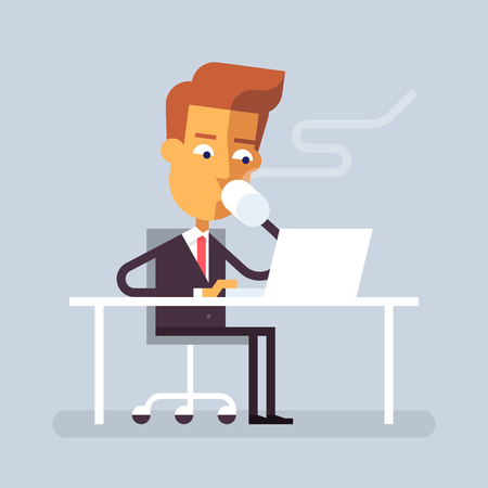 sitting at table: Handsome man in formal suit is sitting at the desk with a laptop and drinking hot beverage. Cartoon character - businessman. Stock vector illustration in flat design.