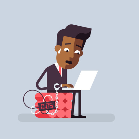 job deadline: African american man trying to finish the job on time. Deadline business concept. Vector illustration in flat design.
