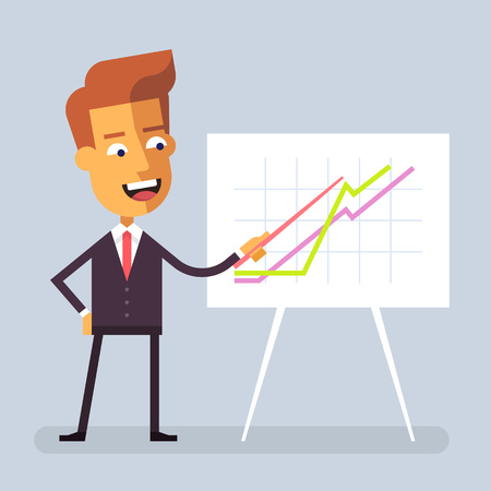 achievment: Handsome manager in formal suit is giving a presentation and showing graphs. Cartoon character - cute businessman. Report, training. Stock vector illustration in flat design.