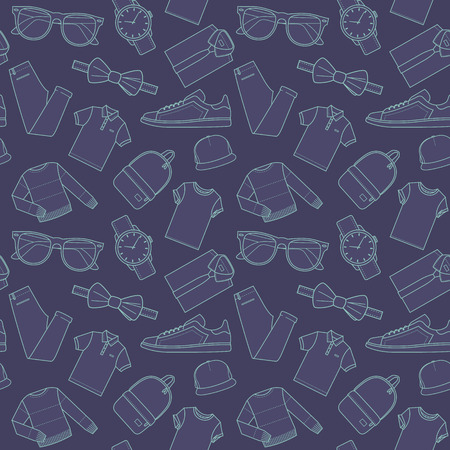 clothing store: Seamless patterns of male clothes, shoes and accessories for online store in hipster style. Mens wear backgrounds for shops. Thin lines.  Vector stock clipart.