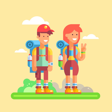 Couple of young hikers: guy and girl are standing with large backpacks and friendly smiling. Vector illustration in flat design.