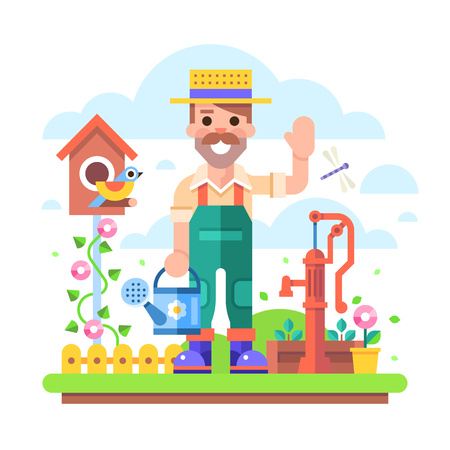 Attractive young gardener with a watering can in overalls stands in a garden on a background of flowers and shrubs near the old water pump. Illustration