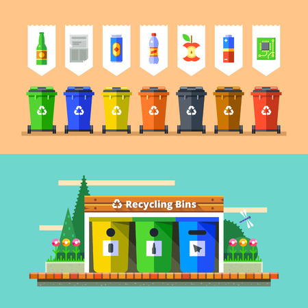 폐기물 관리 및 재활용 개념. 쓰레기를 쓰레기통에 쓰레기의 분리. 재활용을 위해 폐기물을 정렬. 폐기물 종류와 컬러 쓰레기통. 평면 디자인의 벡터
