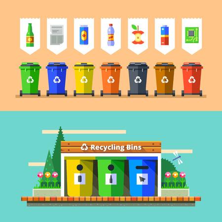 Gestione dei rifiuti e il concetto di riciclo. La separazione dei rifiuti in cassonetti. La raccolta differenziata per il riciclaggio. bidoni della spazzatura colorate con tipi di rifiuti. Illustrazione vettoriale in design piatto.