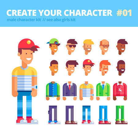 Mens character creation kit. Set of replaceable parts for creating your unique male character: 10 heads, 5 bodies, 5 couples of legs and 3 tones of skin. See also guys kit. Vector illustration.