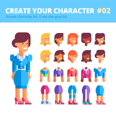 creation kit: Female character creation kit. Set of replaceable parts for creating your unique feminine character: 10 heads, 5 bodies, 5 couples of legs and 3 tones of skin. See also guys kit. Vector illustration. Illustration