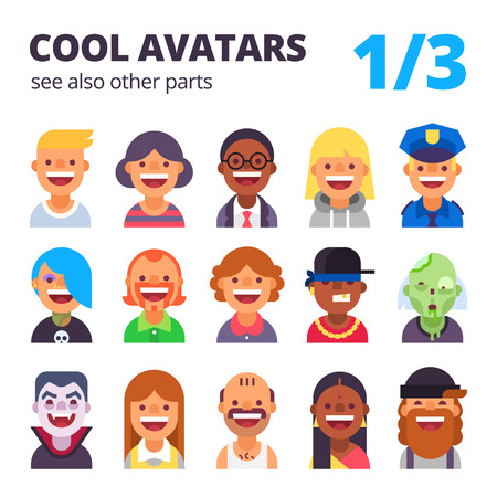 skin tones: Set of cool avatars. Different skin tones, clothes and hair styles. Modern and simple flat cartoon style.