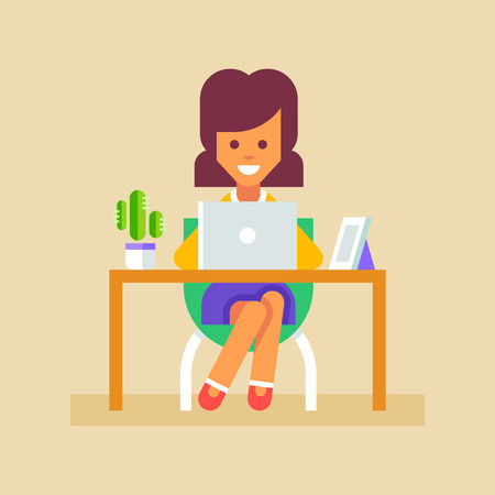 office worker: Young business woman or a secretary working at her office table with laptop.