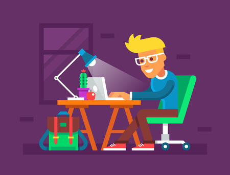 men cartoon: Handsome young man working on his laptop. Creative colorful illustration in flat design.