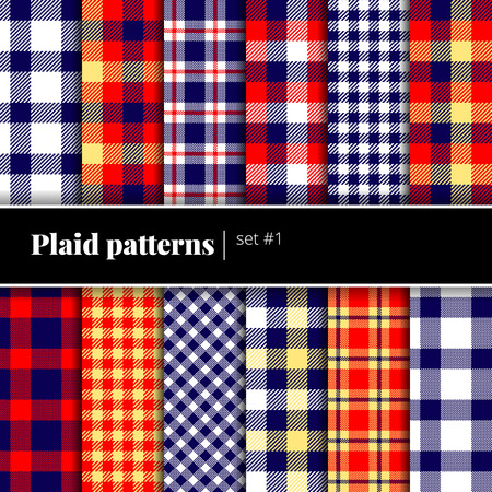 plaid patterns: Collection of seamless plaid patterns. Vector backgrounds. Set #1. See also other sets!