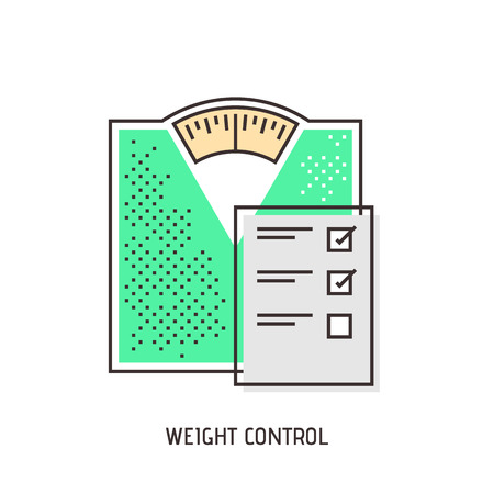 weight control: Floor scales modern thin line illustration. Weight control concept. Vector icon.