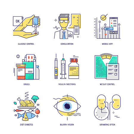 injection: Modern thin line icons set of diabetes live. Premium quality outline signs collection. Stock vector illustration in flat design.