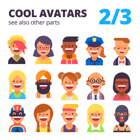 skin tones: Set of cool avatars. Different skin tones, clothes and hair styles. Modern and simple flat cartoon style. Part 2 of 3. See also other parts.