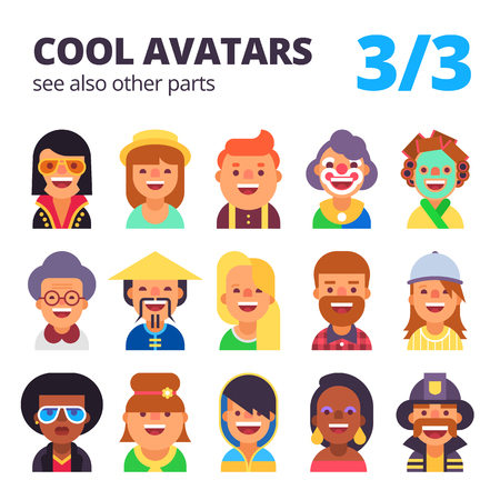 skin tones: Set of cool avatars. Different skin tones, clothes and hair styles. Modern and simple flat cartoon style. Part 3 of 3. See also other parts.
