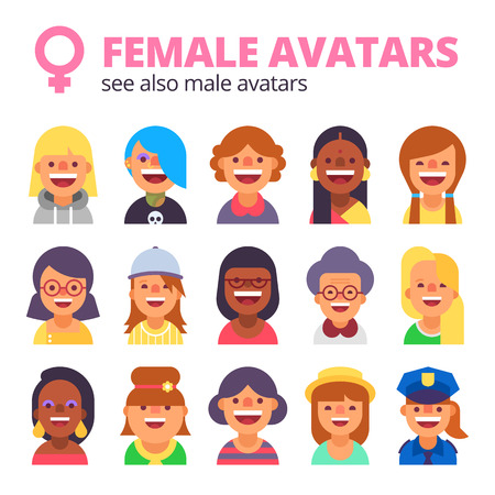 skin tones: Set of female avatars. Different skin tones, clothes and hair styles. Modern and simple flat cartoon style. See also male set.