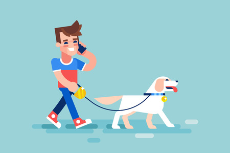 Young man walks his dog and talking on the phone. Modern vector illustration in flat style. 矢量图像