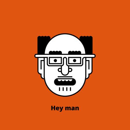 bald man: Cartoon character - mad bald man. Retro design of avatar, t-shirt print, or logo. Thin lines. Stock vector illustration. Illustration