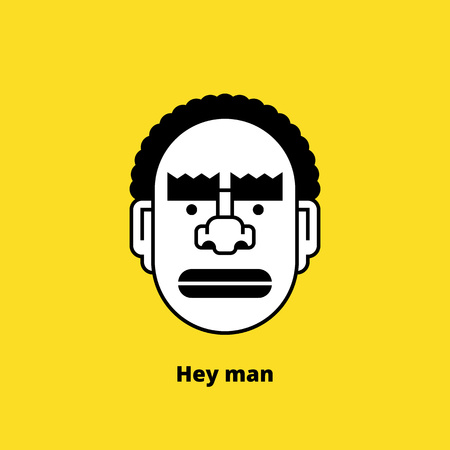 wrathful: Character design: black angry man. Retro design of avatar, t-shirt print, or logo. Stock vector illustration. Illustration