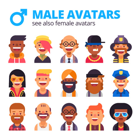 differnt: Collection of cool male avatars. Different skin tones, clothes and hair styles. Modern and simple flat design. Illustration
