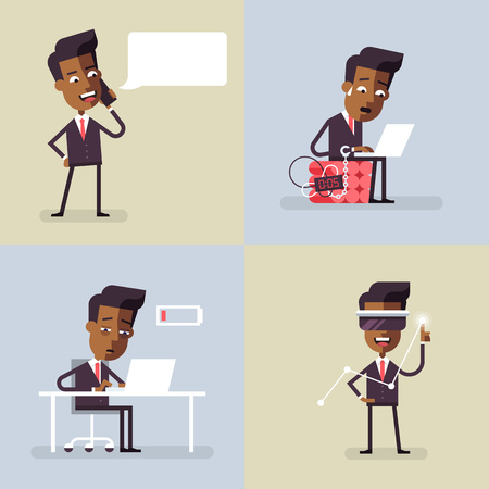 black men: Collection of business illustrations with black men in formal suits. Office situations. Vector illustration in flat design.