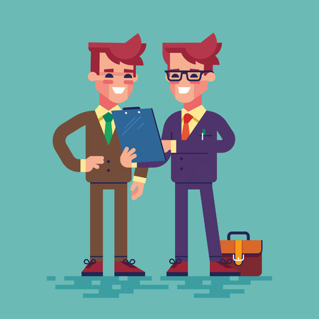 colleague: Two businessmen are looking at clipboard. Businessman in formal suit is showing a document on a clipboard to his colleague. Vector illustration in flat style. Illustration