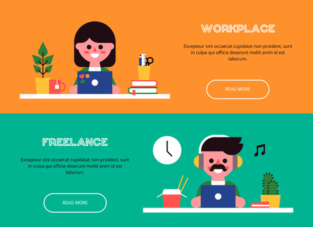 cool man: Young man and woman are sitting at the table and working at laptops. Set of cool banners. View of the workplace. Vector colorful illustration in a flat style.