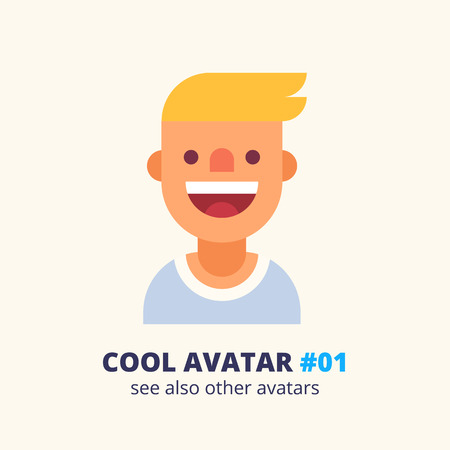 cute blonde: Cool avatar 001. Young blonde guy friendly smiling. Modern simple and clear design. Vector icon in flat style.