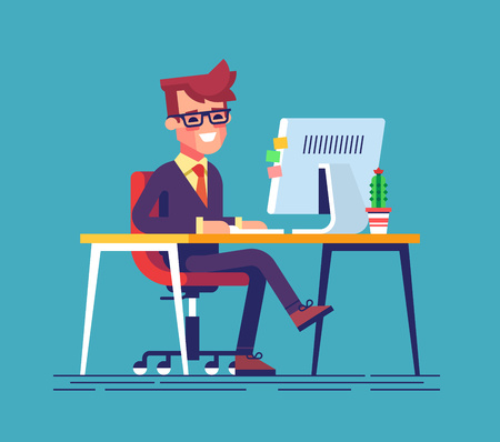 crossed: Young handsome Businessman is sitting legs crossed typing something on the desktop computer and friendly smiling. Business concept office work. Modern vector illustration flat style.