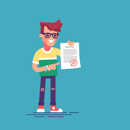 best result: A cute happy student holding sheet with the highest mark. Excellent pupil showing the best result test. Cartoon character. Vector illustration flat design.