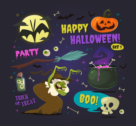 Collection of halloween elements and characters. Set of vector icons on Halloween theme.