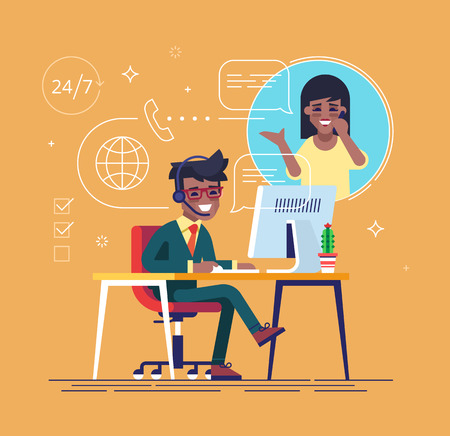 african americans: African american helpline operator with headset consulting a client. Online global tech support 247. Operator and customer. Technical support concept. Vector illustration in flat design.