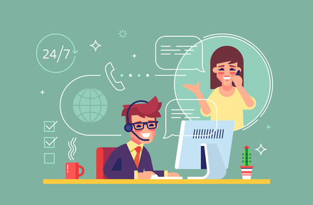 Happy male helpline operator with headset consulting a client. Online global tech support 247. Operator and customer. Technical support concept. Vector illustration in flat design.