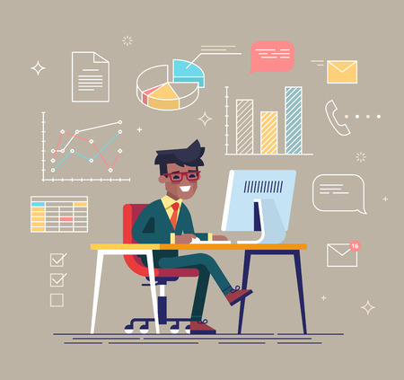 Office work concept vector with young adult black businessman working behind his computer with office process icons on background. 矢量图像